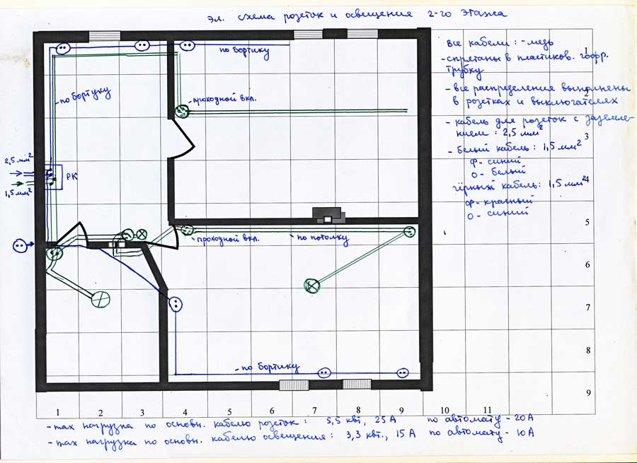 Схема розеток и линии